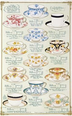 Transparent China Tea and Breakfast Services, by The Fenton Pottery Co. Stoke-on-Trent, England. Thé Illustration, Food Illustrations, Vintage Tee, Vintage Tea Cups, Buch Design, Afternoon Tea Parties, Cuppa Tea, Tea Service, My Tea