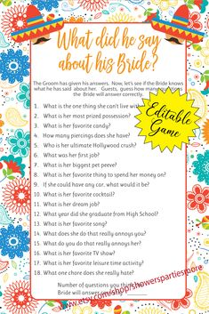 Great Bridal Shower game, Wedding Shower Game, or Engagement Party Game.  Edit this shower game with questions specifically pointing to your Bride and Groom. Engagement Party Games, Wedding Shower Games, Matching Gifts, Couple Shower, Wedding Bride, Make It Yourself, This Or That Questions, Sayings, Groom