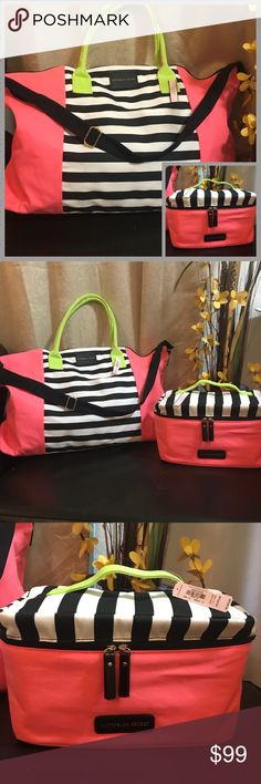 Victoria's secret new weekender bag set. NWT Super big weekender bag  and lingerie travel case , zipped pocket inside the bag The case come with 3 compartment: 1 brass compartment 1 sexy little things compartment 1 panties compartment removable straps Ideal for travel, beach, shopping Retail: bag $99, case $70 plus tax. Victoria's Secret Bags Travel Bags