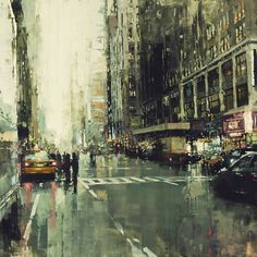 """An artists representation of what we see in cities. A modern take on impressionism. Jeremy Mann. Hell's Kitchen. Oil on Panel. facebook.com/thirddimeart"