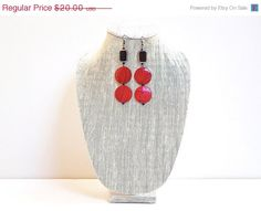 SALE 40% OFF Red Drop Long Earrings Red & Black Wood by JustColor