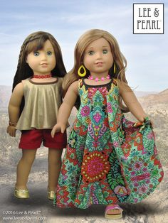 Introducing Lee & Pearl Pattern 1032: Desert Sunrise Maxi Dress, Halter Top and Beaded Chokers for 18 Inch Dolls. Get your American Girl dolls summer festival-ready with gauzy MAXI DRESSES and loose floaty TOPS, draped in beautiful folds from an easy-to-sew bias tape-bound halter neckline. Then complete your girl's boho look with the perfect handmade BEADED CHOKER. Find this pattern in our Etsy store at https://www.etsy.com/listing/397805083/lp-1032-desert-sunrise-maxi-dress-halter