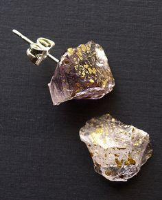 Gold Splatter & Raw Amethyst Chunk Earrings Geo by AdamRabbit