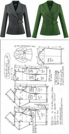 Blazer gola inteira com transpasse - Best Sewing Tips Sewing Paterns, Dress Sewing Patterns, Clothing Patterns, Coat Pattern Sewing, Blazer Pattern, Jacket Pattern, Fashion Sewing, Diy Fashion, Fashion Outfits