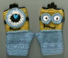Minion Like Children's Fingerless Gloves Sizing Will Fit 4 to 6 Year Old   eBay
