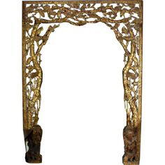 19th Century  An Important Architectural Carved Giltwood Room Surround depicting many carved birds within a tree and vine motif.  Similar for entry to bedroom?
