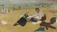"igormaglica: "" Edgar Degas (1834–1917), Beach Scene, ca.1870. oil on paper on canvas, 47,5 x 83 cm """