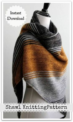 Make this beautiful shawl/triangle scarf using this easy to follow pattern. I have created a detailed pattern with clear directions and photos in a easy to read and understand PDF. It is written in English, with tons of added pictures. #ad #affiliate #kn