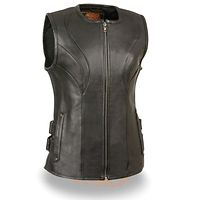 <b>Milwaukee Leather Women's Zipper Front SWAT Style Black Leather Vest with Gun Pockets</b>