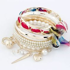 Designs Red Bowknot Pearl Multilayer Alloy Fashion Bangles  www.asujewelry.com