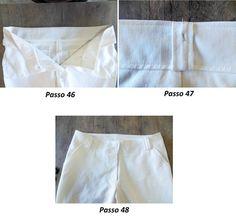 Aplicação do cós e passantes em calça de alfaiataria feminina