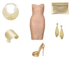 """""""Gold mixed with Rose Cocktail Outfit...So stunning"""" by normah on Polyvore featuring Hervé Léger, Christian Louboutin, Chico's, Karen Kane, Golden Goose, Marco Bicego, women's clothing, women's fashion, women and female"""