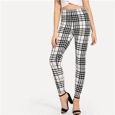 ba6aa73092e15 SHEIN Black And White Office Lady Highstreet Plaid Skinny High Waist Casual  Leggings Summer Women Elegant Leggings Trousers