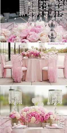 Center pieces and pink chairs