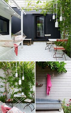 Simple, clean outdoor space. Such a fan of the hammock and the outdoor bath. Great grey exterior colour also.