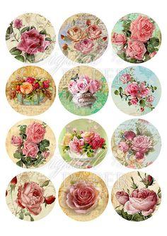 Roses Rock 2.5 inch circles set of 12 digital by bydigitalpaper