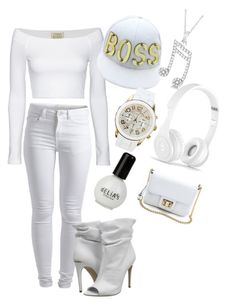 """""""all white affair:PARTY TUN UP"""" by jahyrahbaby ❤ liked on Polyvore featuring Pieces, Torn by Ronny Kobo, Burberry, Allurez, Beats by Dr. Dre and Juicy Couture"""
