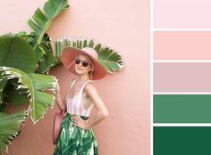 РОЗОВЫЙ + ЗЕЛЕНЫЙ Очень неожиданное и очень летнее сочетание. Даже несмотря на то, что в нашем примере оттенки розового предельно мягкие и приглушенные, от такой комбинации так и веет тропическим теплом и безмятежностью!