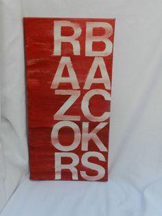 RAZORBACKS 8x16 hand painted canvas sign by thenotsoblankcanvas, $25.00