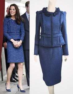 Navy tweed boucle suit with fringe trim inspired by Duchess Kate Middleton