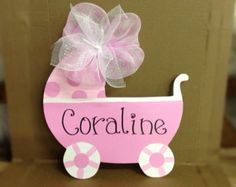 Baby carriage door hangerPolk a dot pink by Furnitureflipalabama
