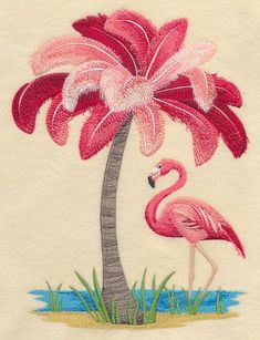 Machine Embroidery Patterns Machine Embroidery Designs at Embroidery Library! - New This Week Embroidery Software, Machine Embroidery Patterns, Crewel Embroidery, Hand Embroidery Designs, Vintage Embroidery, Embroidery Techniques, Ribbon Embroidery, Flamingo Decor, Pink Flamingos