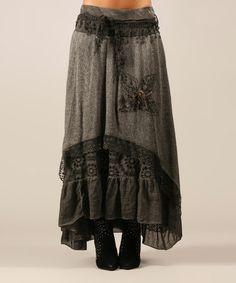 Gray Kelly Wool-Blend Skirt by Charlotte&Louis