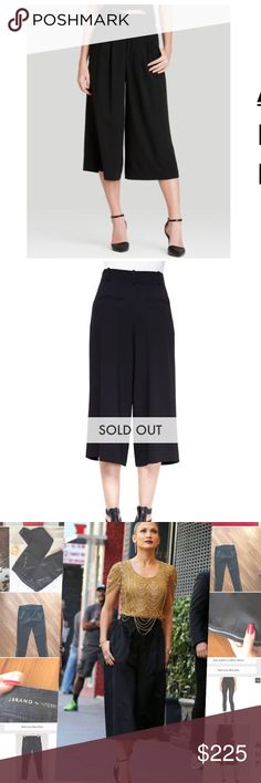 "Alice + Olivia Black Pleated Gaucho Pants LOVE these!  High waisted, pleated front.  Waist measures 26"" as the size rage is missing.  However they are new.  Enjoy! Alice & Olivia Pants Wide Leg"