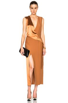 Silk Satin Belted Shell Dress