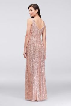 Sequin Tank Bridesmaid Dress with Satin Piping Empire Waist Bridesmaid Dresses, Blush Bridesmaid Dresses Long, Bridesmaids, Evening Dresses For Weddings, Wedding Dresses, Reception Dresses, Wedding Vows, Reception Ideas, Wedding Stuff