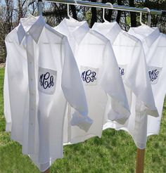 Oversized Button Downs for Bridesmaids | SET OF 5 Monogrammed Bridesmaid Button Down Shirt by MonogramWorks