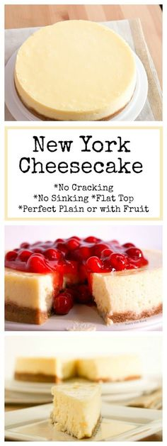 This New York Cheesecake is the best I've ever had! No cracking, no sinking top, no thick brown crust. A perfectly flat cheesecake that everyone will love! #dessert #cheesecake #perfectcheesecake #cherrycheesecake #plaincheesecake #desserts #nocrackcheesecake #flattopcheesecake #newyorkcheesecake #numstheword #recipe #recipes