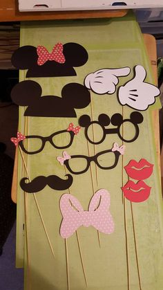 11 piece MICKEY MINNIE PHOTO BOoTH props Ears Minnie Goofy Donald Daisy Mustache Hat Bow tie Pluto Bone wedding, birthday, baby shower