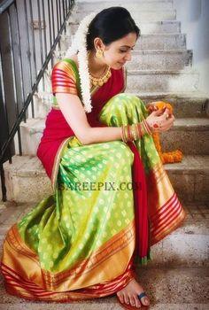 "Leading actress, tall beauty Rakul preet singh in half saree from her upcoming telugu movie ""rarandoy veduka chuddam"". She is pairing with Naga chaitanya i Saree Blouse Patterns, Saree Blouse Designs, Lehenga Designs, Half Saree Lehenga, Sari, Bollywood Lehenga, Indian Dresses, Indian Outfits, Indian Frocks"