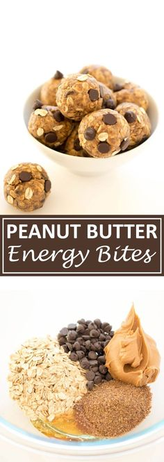 5 Ingredient Peanut Butter Energy Bites - no choc chips, 1/2 1/2 baby cereal and oats, bit more butter and honey, chopped up kamut substitute. Delish!