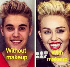 Justin Bieber With Makeup Vs No Makeup | Click the link to view full image and description : )