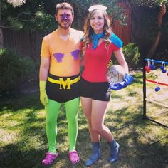 Mermaid man and barnacle boy couples superhero costume with dirty bubble