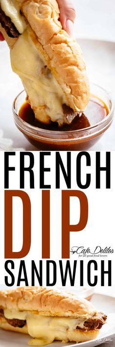 French Dip Sandwiches with a mouthwatering jus! Slow Cooker or Instant Pot fall apart beef that melts in your mouth with melted provolone. Sandwiches For Lunch, Delicious Sandwiches, Soup And Sandwich, Gourmet Sandwiches, Sandwich Ideas, Sandwich Recipes, Entree Recipes, Meat Recipes, Crockpot Recipes