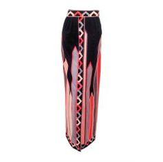 Emilio Pucci 1960s Pink, Black Cotton Velvet Border Print Long Skirt