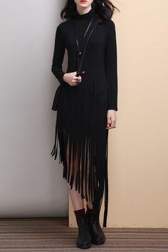 Irregular Fringe Black Dress