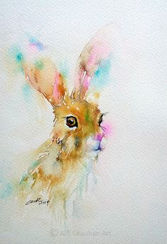 Blue Rain - Original Fine Art for Sale - © by Arti Chauhan Watercolor Animals, Watercolor Print, Watercolor Pictures, Bunny Painting, Watercolor Projects, Rabbit Art, Bunny Art, Fine Art Auctions, Fauna