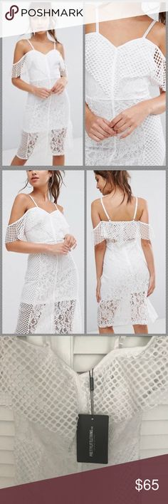 NWT ASOS white lace off the shoulder midi dress NWT. Gorgeous dress! True to size. I only have one left in each size (0,2,4). Brand is Pretty Little Thing but exclusive to ASOS. Retails for $98!!! ASOS Dresses Midi