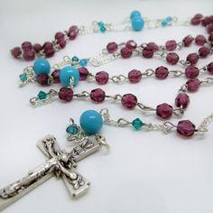 Czech Fire-Polish and Vintage Glass Catholic Rosary Prayer Beads | ViaDellaRosa - Jewelry on ArtFire