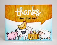 Lawn Fawn Thank You Card by Mendi Yoshikawa (using Critters On The Farm, Harold's ABCs, Scripty Thanks & Speech Bubble Border)