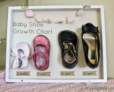 Adorable! Skip the mess and fuss by using Glue Dots adhesives! (Probably want to use either new All Purpose Glue Dots available at Michaels or Advanced Strength Glue Dots available at Walmart)  Baby Shoe Growth Chart from TodaysCreativeBlog.net #baby #babygrowth #nursery #decor