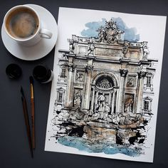 New Art Painting Watercolor Beautiful Ideas Watercolor Architecture, Architecture Art, Watercolor Sketch, Watercolor Paintings, A Level Art Sketchbook, Purple Wall Art, Sketch Inspiration, Urban Sketching, New Art