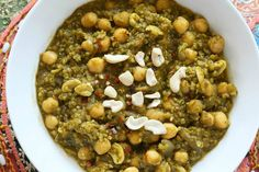 Chickpea spinach stew with lentils