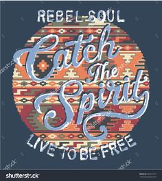 Catch the spirit with native pattern background, vector artwork for shirt in custom colors