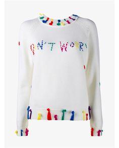 MIRA MIKATI Don't Worry Embroidered Merino Wool Jumper