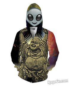 Alien Space Buddha Zip-Up Hoodie *Ready to Ship* - RageOn! - The World's Largest All-Over-Print Online Store